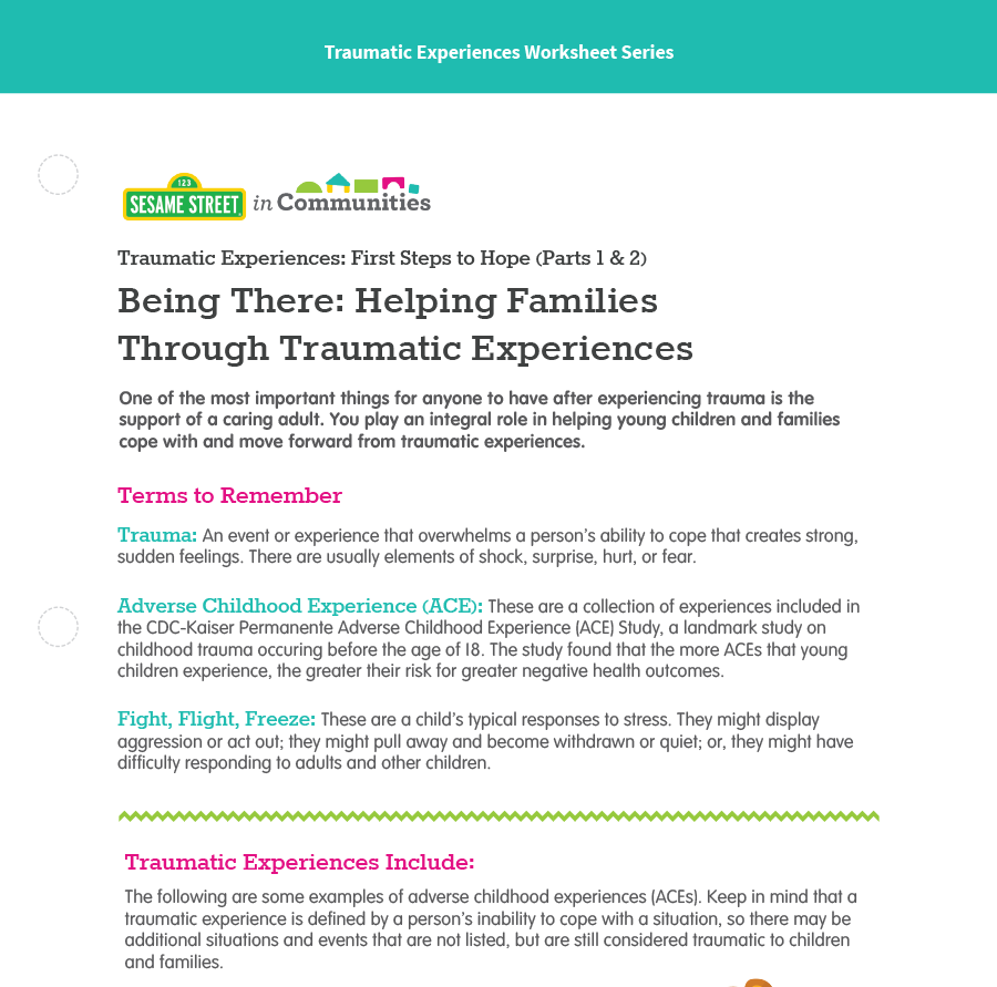 Trauma 1 Handout Thumbnail - Sesame Street in Communities