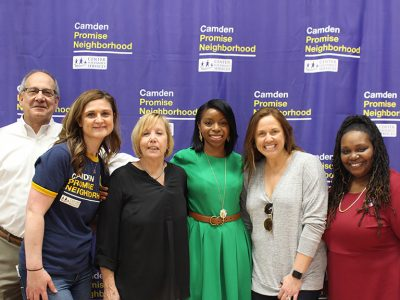 The Center for Family Services team with Rochelle Haynes, Vice President of US Social Impact at Sesame Workshop, at the launch.